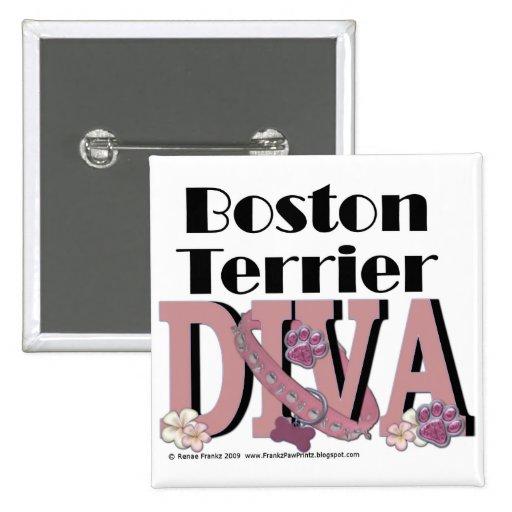 Diva de Boston Terrier Pin