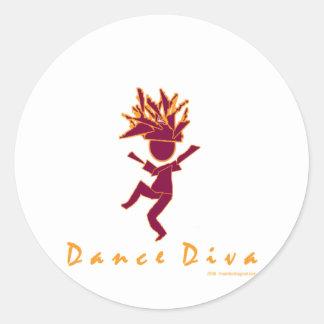 Diva de la danza pegatina redonda