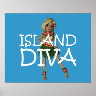 Diva de la isla de la CAMISETA Posters