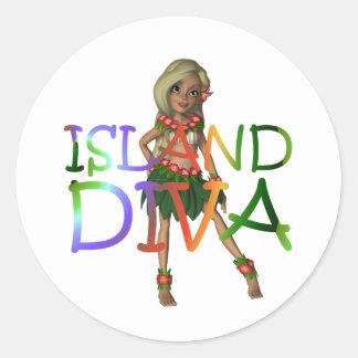 Diva de la isla de la CAMISETA Pegatina Redonda