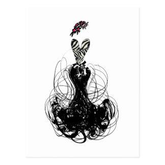 Diva de la moda - blanco y negro postal