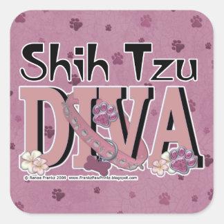 DIVA de Shih Tzu Calcomanía Cuadrada