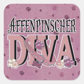 DIVA del Affenpinscher Calcomanía Cuadradas Personalizada