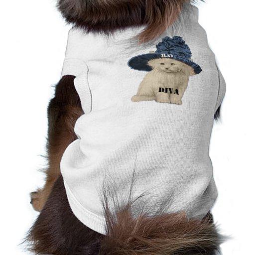 Diva del amante del gato del gorra del vintage - c camisa de perro