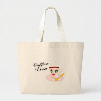Diva del café bolsa tela grande