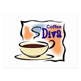 Diva del café tarjeta postal