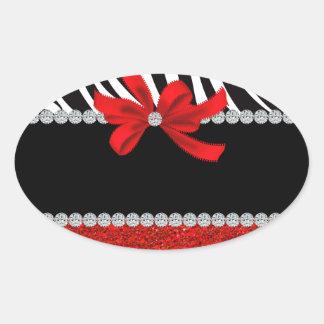 Diva del diamante (brillo rojo) calcomanías de ovales personalizadas