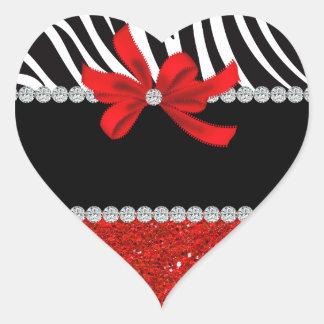 Diva del diamante (brillo rojo) pegatina en forma de corazón