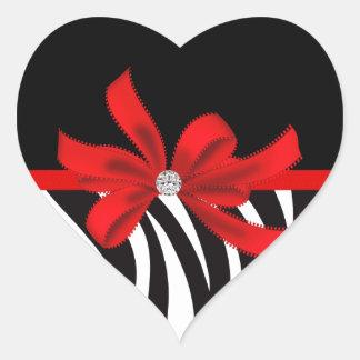Diva del diamante (roja) pegatina en forma de corazón