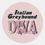 DIVA del galgo italiano Pegatina Redonda