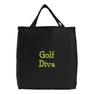 Diva del golf bolsas de mano bordadas