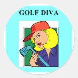 diva del golf pegatina redonda