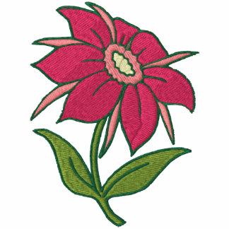 Diva del jardín - flor rosada sudadera bordada con capucha