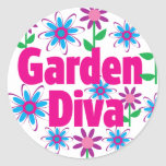 Diva del jardín pegatinas redondas