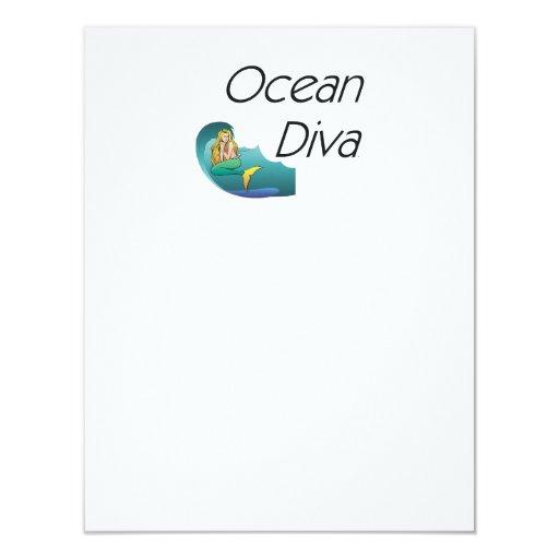 """Diva del océano de la CAMISETA Invitación 4.25"""" X 5.5"""""""