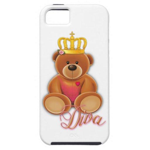 diva del peluche de la corona de la corona del iPhone 5 fundas