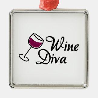 Diva del vino adorno navideño cuadrado de metal