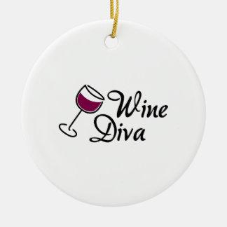 Diva del vino adorno navideño redondo de cerámica