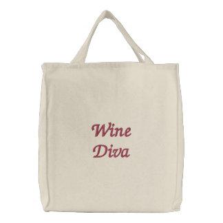 Diva del vino bolsa de tela bordada