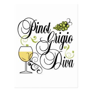 Diva del vino de Pinot Grigio Postales