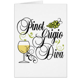 Diva del vino de Pinot Grigio Tarjeta De Felicitación