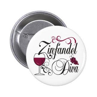 Diva del vino de Zinfandel Pins