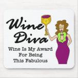 """Diva del vino """"fabulosa """" alfombrillas de raton"""