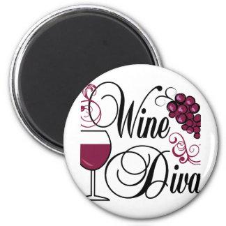 Diva del vino imán de nevera