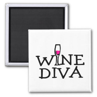 Diva del vino imán cuadrado