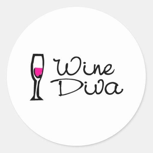 Diva del vino pegatina redonda