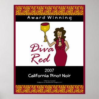 Diva del vino, poster grande de la falsa etiqueta