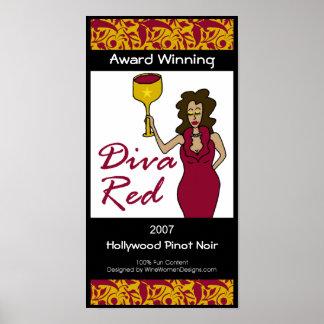 Diva del vino, poster rojo de la etiqueta del vino