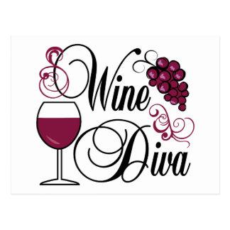 Diva del vino tarjeta postal