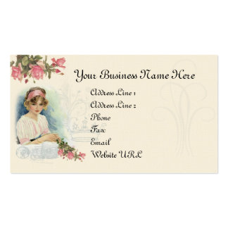 Diva del vintage y tarjeta de visita de los rosas