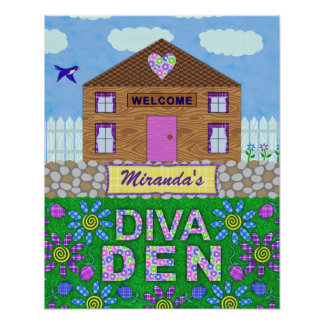 Diva Den Woman Cave Garden Hut Personalized Name Poster