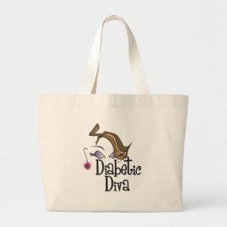 Diva diabética bolsa de tela grande