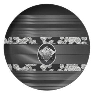 Diva Diamonds Melamine Plate