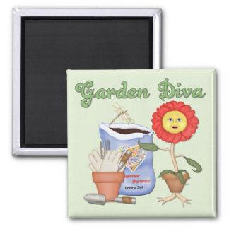 Diva divertida del jardín imán cuadrado