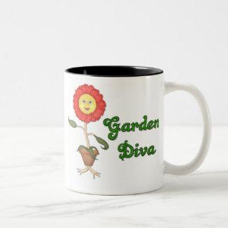 Diva divertida del jardín taza dos tonos