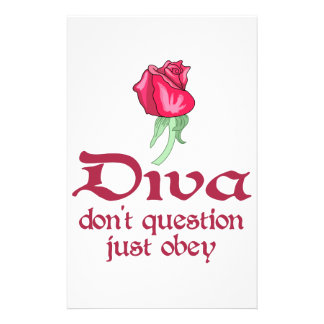 Diva Don't Question Just Obey Customized Stationery