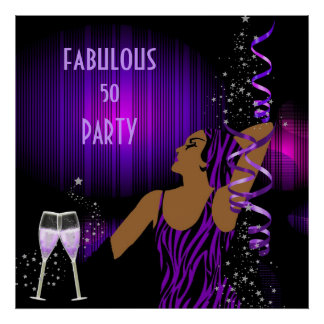 Diva Fabulous 50 LADY Purple Party Champagne Poster