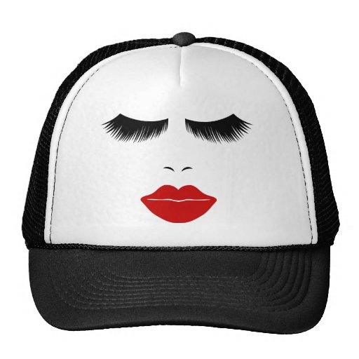 Diva Fashion Face With Lashes & Full Lips Mesh Hats