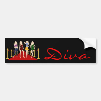 Diva Fashion Girls Posing on the Red Carpet Black Bumper Sticker