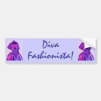 Diva Fashionista In Blue Bumper Sticker
