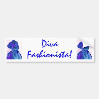Diva Fashionista In Blue I Bumper Sticker