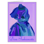 Diva Fashionista In Blue I Card