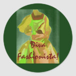 Diva Fashionista In Spring Classic Round Sticker