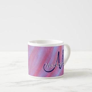Diva femenina de la cebra animal ondulada púrpura taza de espresso