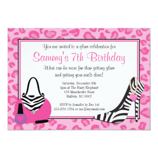 Diva Glam Birthday Party Card