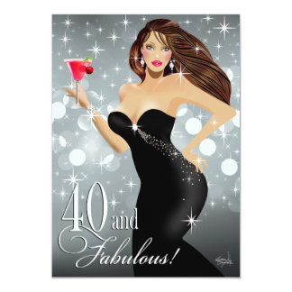 Diva Glam Bombshell 40th Birthday | silver Card